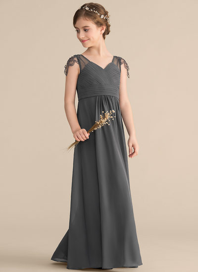 A-Line/Princess V-neck Floor-Length Chiffon Junior Bridesmaid Dress With Ruffle Beading