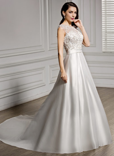 A-Line/Princess Scoop Neck Chapel Train Satin Lace Wedding Dress With Beading Sequins