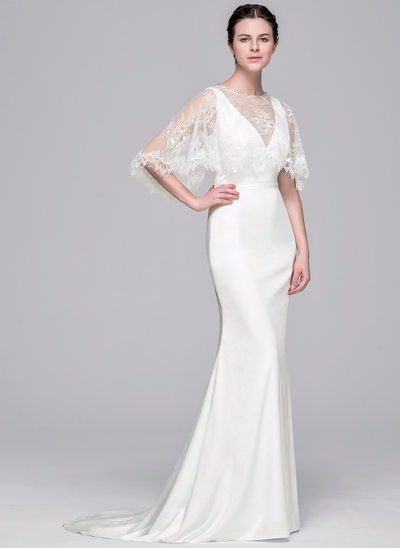 Sheath/Column V-neck Sweep Train Satin Wedding Dress