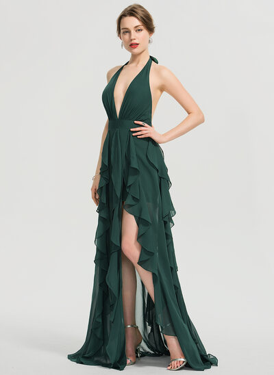 A-Line Halter V-neck Floor-Length Chiffon Prom Dresses With Split Front Cascading Ruffles