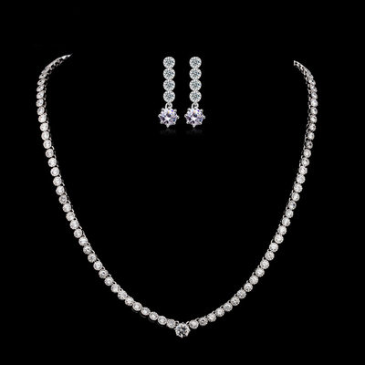 Attractive Zircon/Platinum Plated Ladies' Jewelry Sets