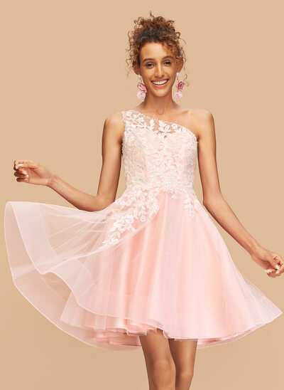 A-Line One-Shoulder Short/Mini Tulle Homecoming Dress With Lace Beading Sequins