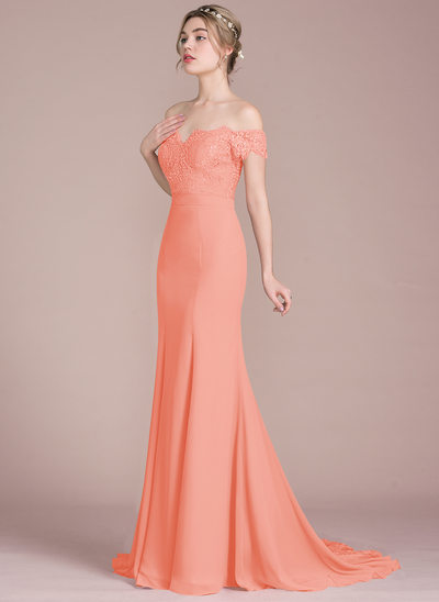 One Shoulder Champagne Colored Bridesmaid Dresses