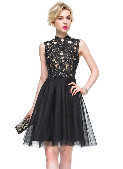 A-Linie/Princess-Linie High Neck Knielang Tüll Lace Cocktailkleid