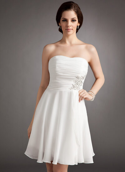 A-Line/Princess Strapless Knee-Length Chiffon Wedding Dress With Ruffle Lace Beading Sequins