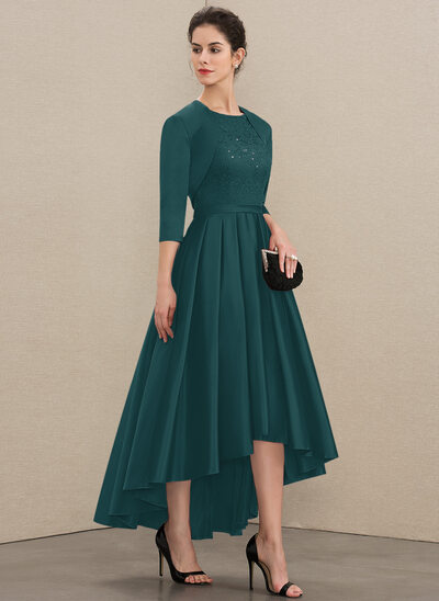 A-Line Scoop Neck Asymmetrical Satin Lace Mother of the Bride Dress With Sequins
