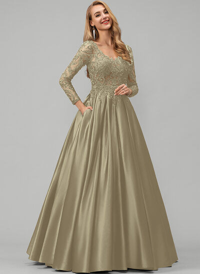 Ball-Gown/Princess V-neck Floor-Length Satin Prom Dresses With Lace Beading Sequins Pockets