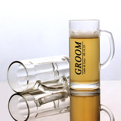 Groom Gifts - Personalized Modern Glass Beer Mug