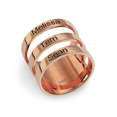 Personalized Ladies' Hottest Gold Plated/Silver Plated/Rose Gold Plated With Round Engraved Rings Rings For Bride/For Bridesmaid/For Friends