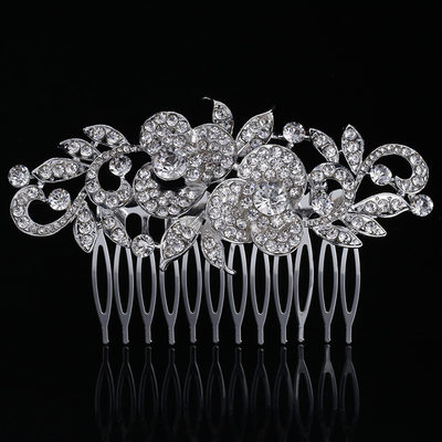 Ladies Classic Rhinestone/Alloy Combs & Barrettes