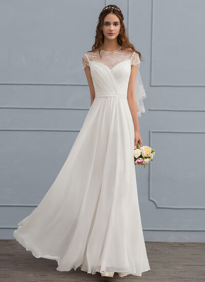 A-Line Scoop Neck Floor-Length Chiffon Wedding Dress With Ruffle