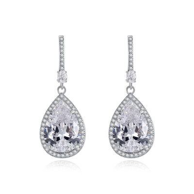 Ladies' Elegant Copper/Zircon Earrings