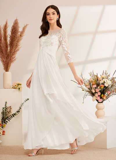 [Free Shipping]A-Line Illusion Floor-Length Wedding Dress With Ruffle Beading