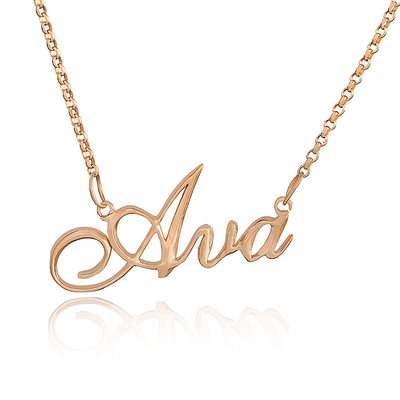 Custom 18k Rose Gold Plated Silver Name Necklace - Birthday Gifts Mother's Day Gifts
