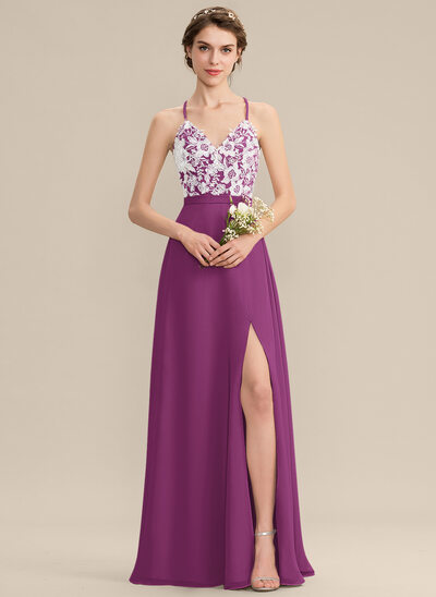 A-Line V-neck Floor-Length Chiffon Lace Prom Dresses With Split Front