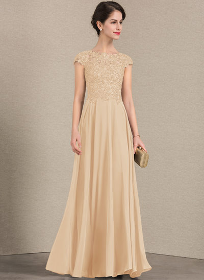 A-Line/Princess Scoop Neck Floor-Length Chiffon Lace Evening Dress With Beading