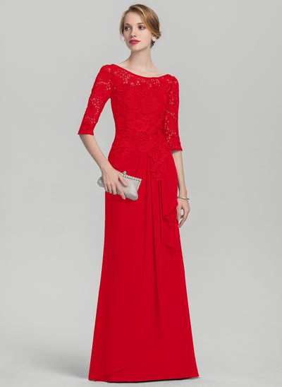 A-Line Scoop Neck Floor-Length Chiffon Lace Evening Dress With Cascading Ruffles