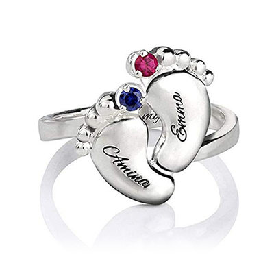 Personalized Unisex Lovely S925 Sliver Round Cubic Zirconia/Birthstone Rings For Bride/For Friends/For Couple