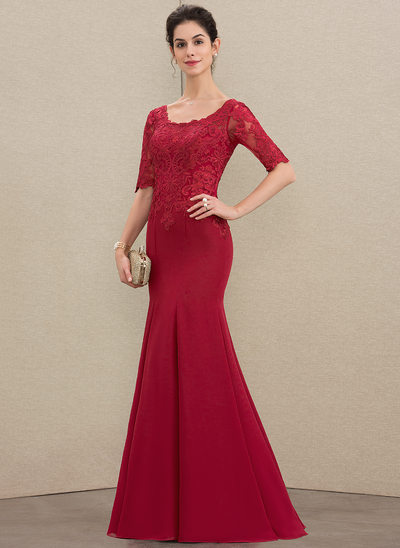 Trumpet/Mermaid Scoop Neck Floor-Length Chiffon Lace Mother of the Bride Dress