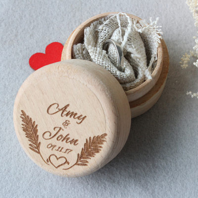 Groom Gifts - Personalized Solid Color Wooden Ring Box