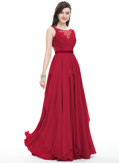A-Line/Princess Scoop Neck Floor-Length Chiffon Prom Dresses With Bow(s) Cascading Ruffles