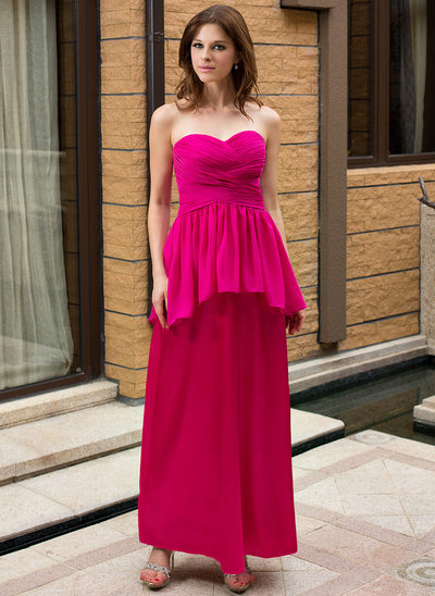 5a1a2eef3ce Sheath Column Sweetheart Ankle-Length Maternity Bridesmaid Dress With  Cascading Ruffles