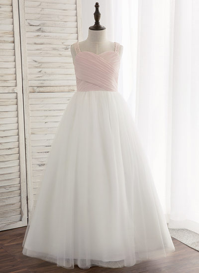 A-Line/Princess Floor-length Flower Girl Dress - Chiffon/Tulle/Lace Sleeveless Straps With Pleated