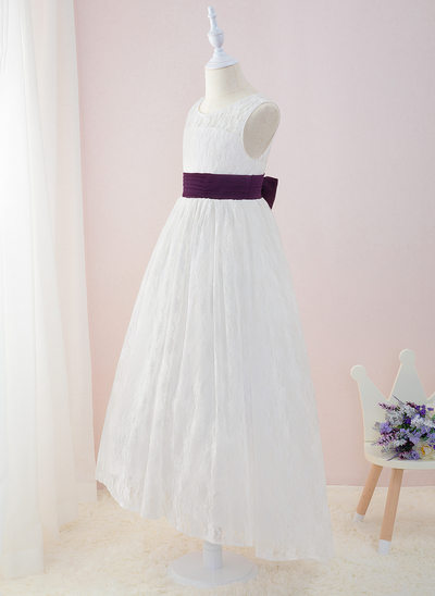 Ball-Gown/Princess Asymmetrical Flower Girl Dress - Satin/Lace Sleeveless Scoop Neck With Sash/Bow(s) (Petticoat NOT included)/(Undetachable sash)
