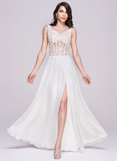 A-Line/Princess V-neck Floor-Length Chiffon Lace Evening Dress With Beading Appliques Lace Sequins Split Front