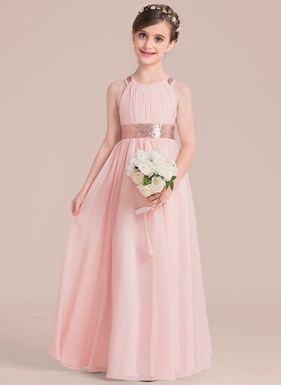 A-Line/Princess Floor-length Flower Girl Dress - Chiffon/Sequined Sleeveless Scoop Neck