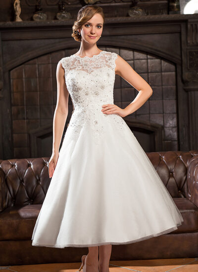 A Line Princess Scoop Neck Tea Length Tulle Lace Wedding Dress With Beading