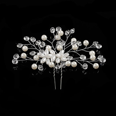 Rhinestone/Alloy/Imitation Pearls Hairpins With Venetian Pearl/Crystal (Sold in single piece)