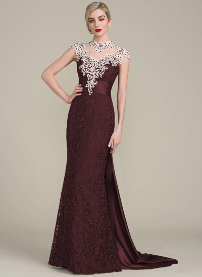 Trumpet/Mermaid Scoop Neck Watteau Train Lace Mother of the Bride Dress With Beading Sequins