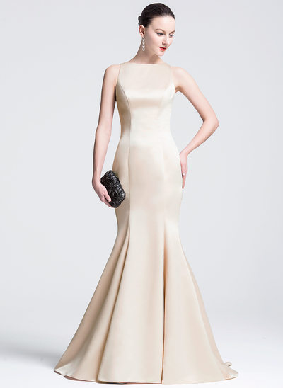 Trumpet/Mermaid Scoop Neck Court Train Satin Evening Dress