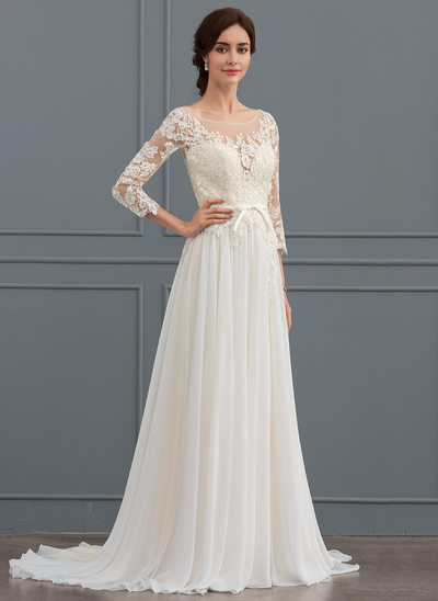 A-Line Illusion Sweep Train Chiffon Lace Wedding Dress With Bow(s) Split Front
