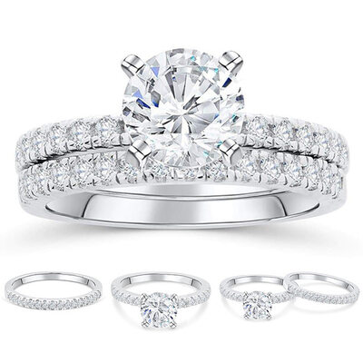 925 Sterling Silver With Round Cubic Zirconia Rings/Bridal Sets