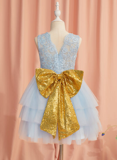 Ball-Gown/Princess Knee-length Flower Girl Dress - Satin/Tulle/Lace Sleeveless Scoop Neck With Lace/Sequins/Bow(s)/V Back