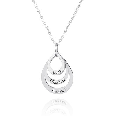 Custom Sterling Silver Circle Three Engraved Necklace Family Necklace With Kids Names - Valentines Gifts