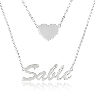 Custom Sterling Silver Name Necklace Double Necklace With Heart