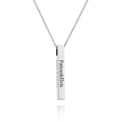 Custom Silver 3D Bar Necklace Engraved Necklace - Valentines Gifts