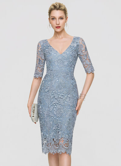 Sheath/Column V-neck Knee-Length Lace Cocktail Dress