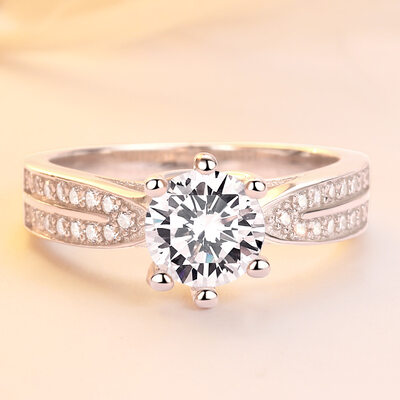 925 Sterling Silver With Round Cubic Zirconia Rings/Engagement Rings/Promise Rings For Bride