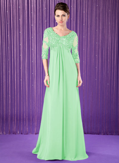Empire V-neck Sweep Train Chiffon Mother of the Bride Dress With Lace Beading