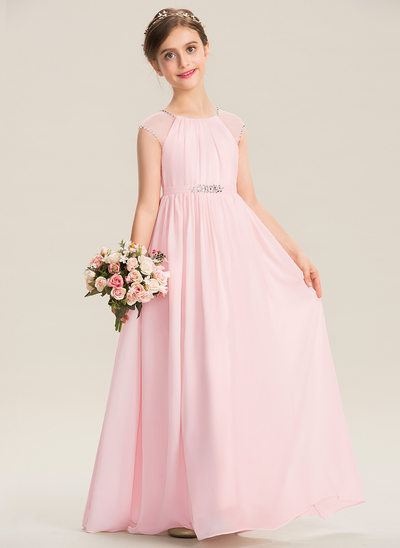 A-Line Scoop Neck Floor-Length Chiffon Junior Bridesmaid Dress With Beading Sequins