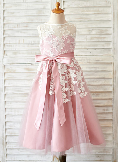 A-Line/Princess Tea-length Flower Girl Dress - Tulle/Lace Sleeveless Scoop Neck With Lace/Sash (Detachable sash)