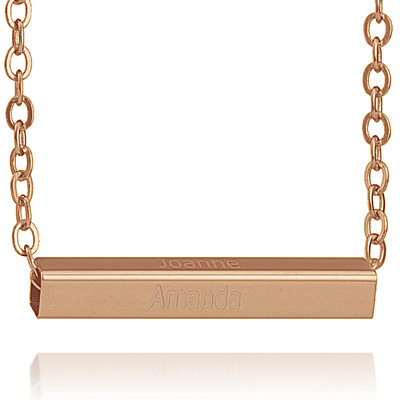 Custom 18k Rose Gold Plated Silver Bar Necklace Nameplate - Birthday Gifts Mother's Day Gifts