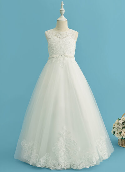 Ball-Gown/Princess Floor-length Flower Girl Dress - Tulle/Lace Sleeveless Scoop Neck With Beading