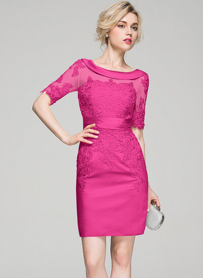 Sheath/Column Scoop Neck Knee-Length Satin Cocktail Dress With Ruffle Appliques Lace