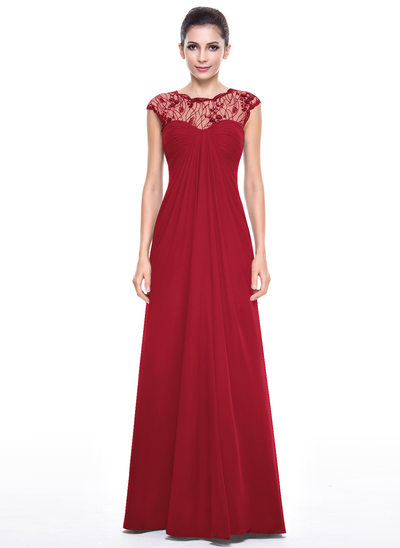 Empire Scoop Neck Floor-Length Chiffon Lace Evening Dress With Ruffle Beading Sequins