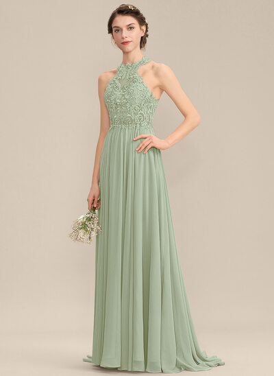 A-Line Scoop Neck Sweep Train Chiffon Lace Prom Dresses With Sequins